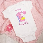 Baby's 1st Birthday Personalized Girls Baby Onesies
