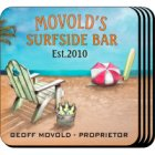 Personalized Surfside Bar Coaster Set