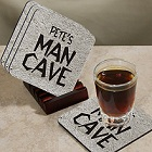 Man Cave Personalized Coaster Sets