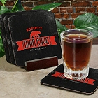 Man Cave Personalized Drink Coaster Set