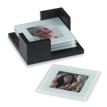 Square Glass Photo Coasters - 4 piece w/ Holder