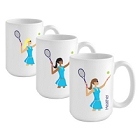 Personalized Go-Girl Tennis Coffee Mugs