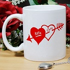 Interlocking Hearts Personalized Coffee Mug
