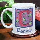Floral Initial Personalized Coffee Mug