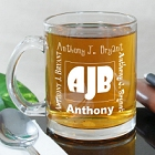Engraved Initials Personalized Glass Mug