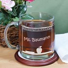 Engraved Chalkboard Glass Teacher Coffee Mug