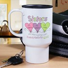Personalized Sisters Heartstrings Travel Mug