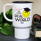 Personalized Off To The Real World Graduation Travel Mugs