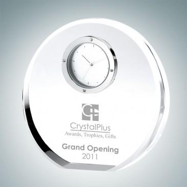 Beveled Circle Engraved Optical Crystal Clocks