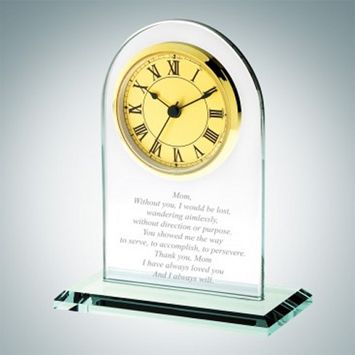 Gold Roman Arch Engraved Jade Crystal Mother's Day Clocks