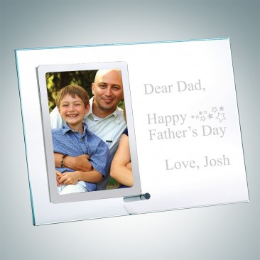 Vertical Clear Glass Fathers Day Picture Frames with Silver Pole