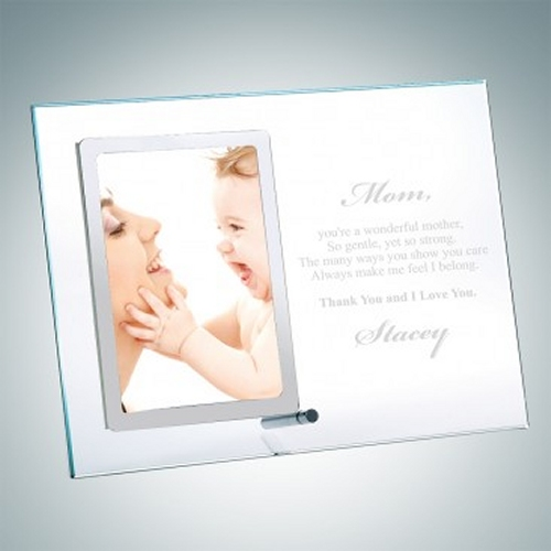Vertical Clear Glass Mothers Day Picture Frames with Silver Pole