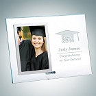 Clear Glass Graduation Vertical Stainless Photo Frame with Silver Pole