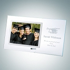 Clear Glass Graduation Horizontal Stainless Photo Frame with Silver Pole