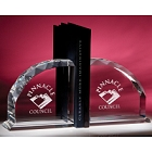 Engraved Crystal Radii Bookends