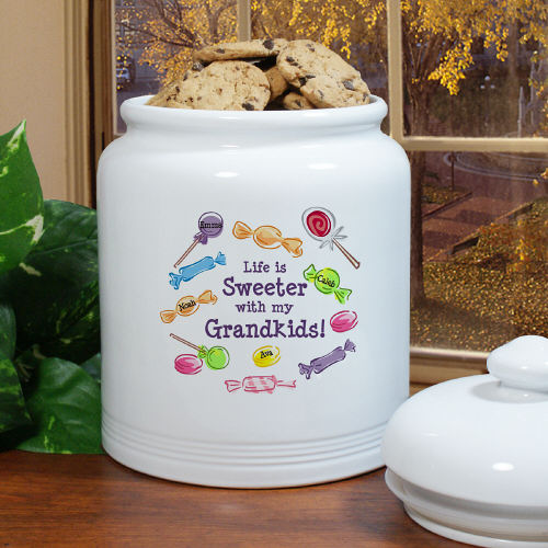 Life Is Sweeter Personalized Grandma Ceramic Cookie Jars