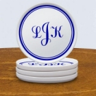 Monogrammed Porcelain Drink Coasters Set of Four