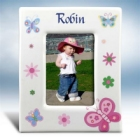 Girl's Personalized Butterfly Ceramic Picture Frames