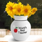 "Personalized Teacher Icons Stoneware 6"" Vase"