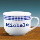 Personalized Blue Gingham 20 oz Latte Mug