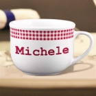 Personalized Red Gingham 20 oz Latte Mug