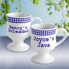 Blue Gingham Personalized Pedestal Coffee Mug