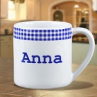 Personalized Blue Gingham 12 oz Coffee Mug