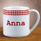Personalized Red Gingham 12 oz Coffee Mug