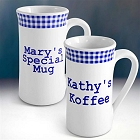 Set of 2 Blue Gingham Personalized Irish Coffee Mugs