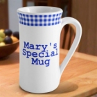 Blue Gingham Personalized Irish Coffee Mugs