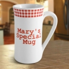 Personalized Red Gingham Irish Coffee Mug