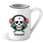 Personalized Crossed Roses Skull Ceramic Mugs