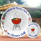 Personalized Red BBQ Platter