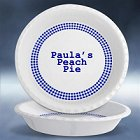 "Personalized Blue Gingham 10"" Pie Plates"