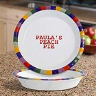 "Rainbow Design Personalized Stoneware 10"" Pie Plate"