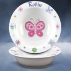 Girls Personalized Butterfly Bowl