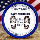 Personalized Navy Porcelain Keepsake Birth Plates