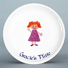 "Personalized 8"" Girls Ceramic Plate"