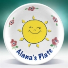 "Girl's Personalized Sunny Face 8"" Plate"