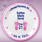 "Girls Personalized 11"" Porcelain Birth Plates"