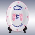 "Girls Personalized 11"" Porcelain Oval Birth Plate"