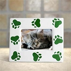 5 x 7 Pet Green Paw Prints Ceramic Picture Frames
