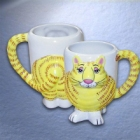 Gary Patterson 3-D Cat Ceramic Coffee Mugs
