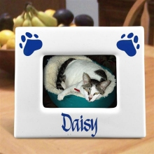 Personalized Horizontal Paw Prints 3 x 5 Ceramic Pet Picture Frames