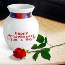 "Rainbow Design Personalized Stoneware 6"" Vase"