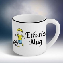 Personalized 12 oz. Boy's Ceramic Soccer Mugs