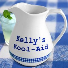 Personalized Blue Gingham 1½ Quart Lemonade Pitchers