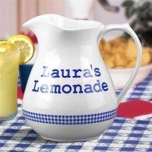 Personalized Blue Gingham 2½ Quart Lemonade Pitchers