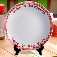 Personalized Red Gingham Serving Platters
