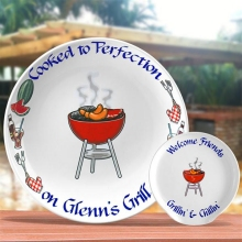 Personalized Red BBQ Serving Platters
